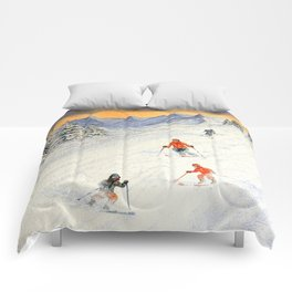 Skiing Family On The Slopes Comforters