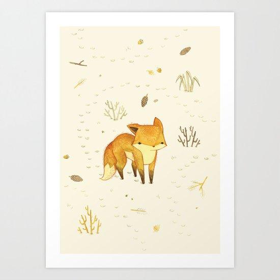 Lonely Winter Fox Art Print
