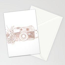 Floral Camera Pink Rose Gold Stationery Cards