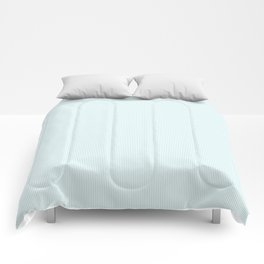 Duck Egg Pale Aqua Blue and White Vertical Thin Pinstripe Pattern Comforters