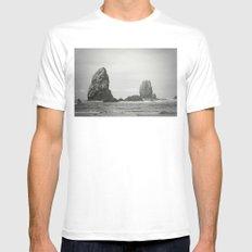 Sea Stacks (Cannon Beach, Oregon) Mens Fitted Tee MEDIUM White