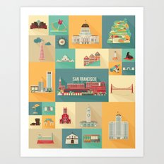 San Francisco Landmarks Art Print