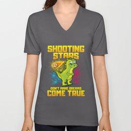Shooting Stars Dont Make Dreams Come True Dinosaur Unisex V-Neck