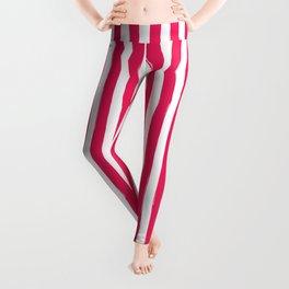 Red and White Cabana Stripes Palm Beach Preppy Leggings