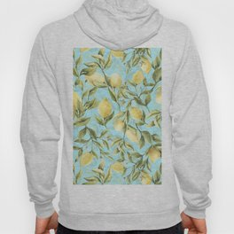 mediterranean summer lemon branches on turquoise Hoody