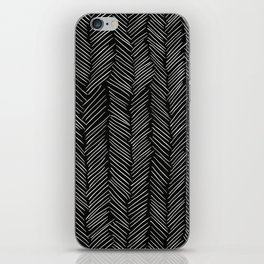 Herringbone Cream on Black iPhone Skin