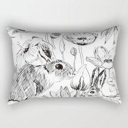 rabbits and flowers parties Rectangular Pillow