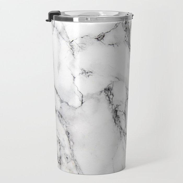 White Marble Texture Travel Mug