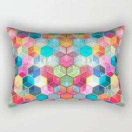 Crystal Bohemian Honeycomb Cubes - colorful hexagon pattern Rectangular Pillow