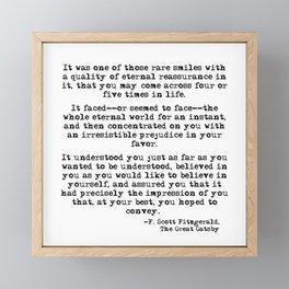 It was one of those rare smiles - F. Scott Fitzgerald Framed Mini Art Print