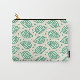 Mid Century Modern Falling Leaves Green Beige 2 Carry-All Pouch