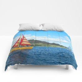 Sailing along Waikiki Comforters