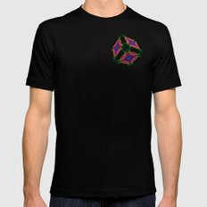 Oriental Smoke 3D Cube SMALL Black Mens Fitted Tee