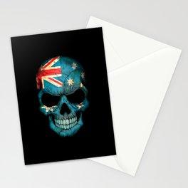 Dark Skull with Flag of Australia Stationery Cards