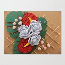 Anthurium Rose Flowers Paper Quilling Canvas Print