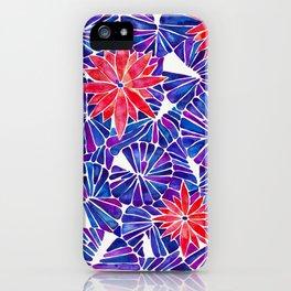 Water Lilies – Indigo & Red Palette iPhone Case