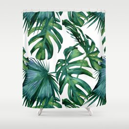 Classic Palm Leaves Tropical Jungle Green Shower Curtain