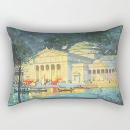 Lagoon at Night; Palace of Fine Arts in Chicago 1893 Rectangular Pillow