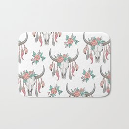 Boho Longhorn Cow Skull with Feathers and Peach Flowers Bath Mat
