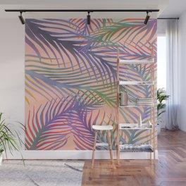 Palm Leaves Pattern - Purple, Peach, Blue Wall Mural