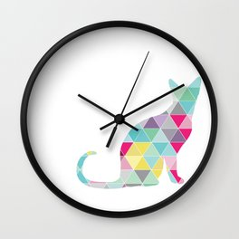 Triangle Cat Wall Clock