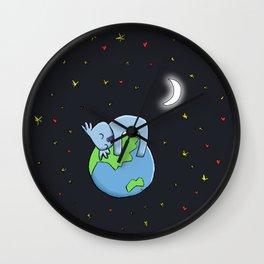 Cute Koala Sleeping on Earth Wall Clock
