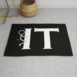 Fuck IT Humping Stickman White Typography Sarcasm Humor Graphic Design - Illustration Rug