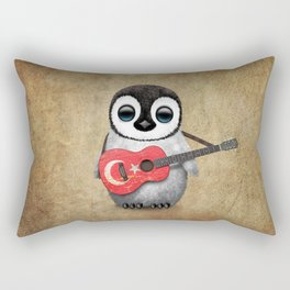 Baby Penguin Playing Turkish Flag Guitar Rectangular Pillow