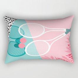 Sportin' - retro minimal pastel neon throwback memphis style pop art tennis sport court player Rectangular Pillow