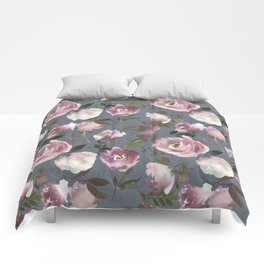 Blush pink violet gray hand painted watercolor floral Comforters