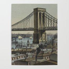 Vintage Brooklyn Bridge Illustration (1872) Poster
