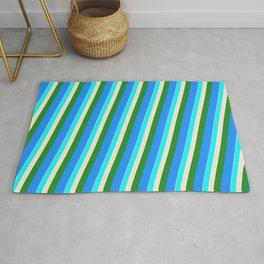 Eyecatching Light Sky Blue, Cyan, Beige, Forest Green & Blue Colored Lines/Stripes Pattern Rug