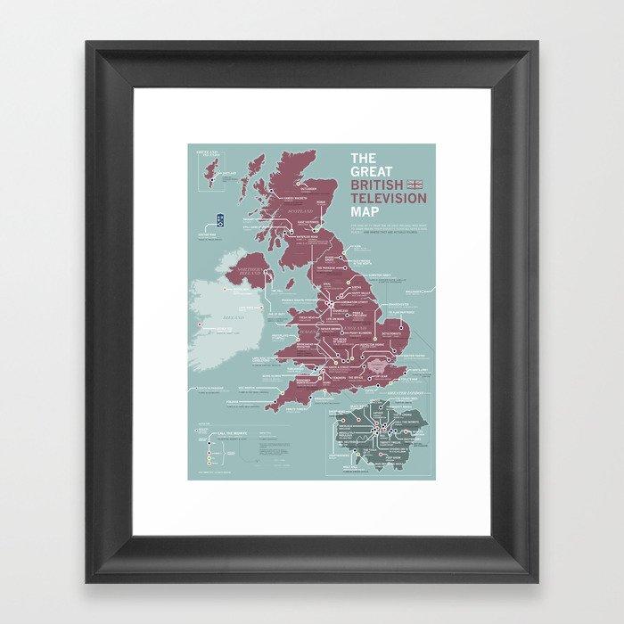 The Great British Television Map Gerahmter Kunstdruck