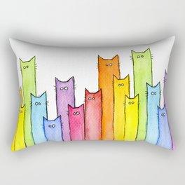 Nursery-Art-Print-Cat-Rainbow-Whimsical-Animals Rectangular Pillow