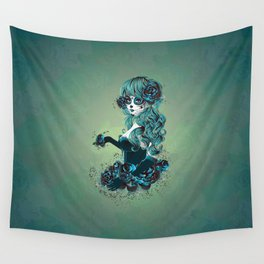 Sugar skull girl in blue Wall Tapestry