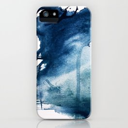 Pacific Grove: a pretty minimal abstract piece in blue by Alyssa Hamilton Art iPhone Case
