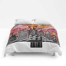 Linocut New York Blooming Comforters