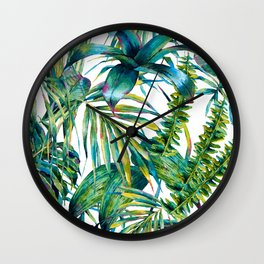 nature leaves exotic watercolor I Wall Clock