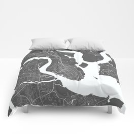 Charleston USA Modern Map Art Print Comforters