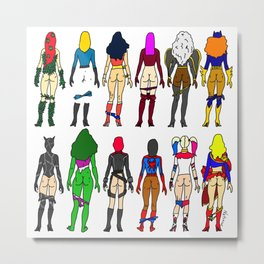 Superhero Butts - Girls Superheroine Butts LV Metal Print