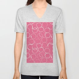 Circles Geometric Pattern Pink Bright White Unisex V-Neck