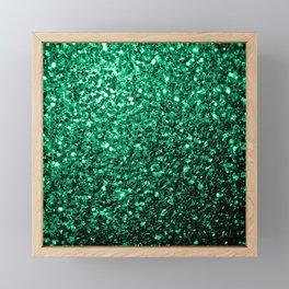 Beautiful Emerald Green glitter sparkles Framed Mini Art Print