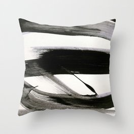 Brushstroke 9: a bold, minimal, black and white abstract piece Throw Pillow