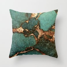 EMERALD AND GOLD Throw Pillow
