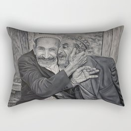 Old men friends and brothers for ever black and whit oil painting Rectangular Pillow