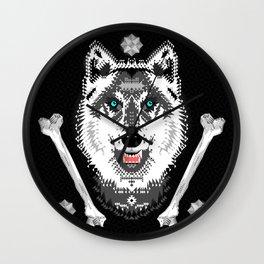 Silver Wolf Geometric Wall Clock