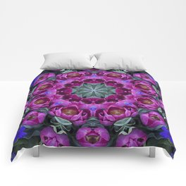 Floral finery - kaleidoscope of blue, plum, rose and green 1650 Comforters