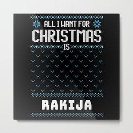 Rakija Ugly Christmas Sweater Metal Print