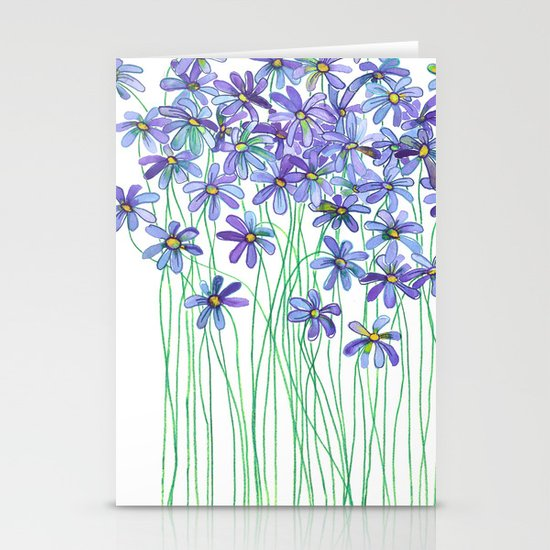 Purple Daisies in Watercolor & Colored Pencil Stationery Cards