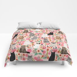 Cat floral mixed breeds of cats gifts for pet lovers cat ladies florals Comforters